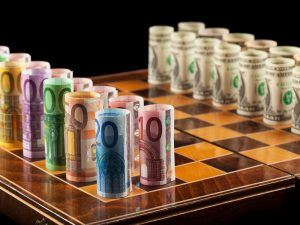 Euros and dollars on chess board