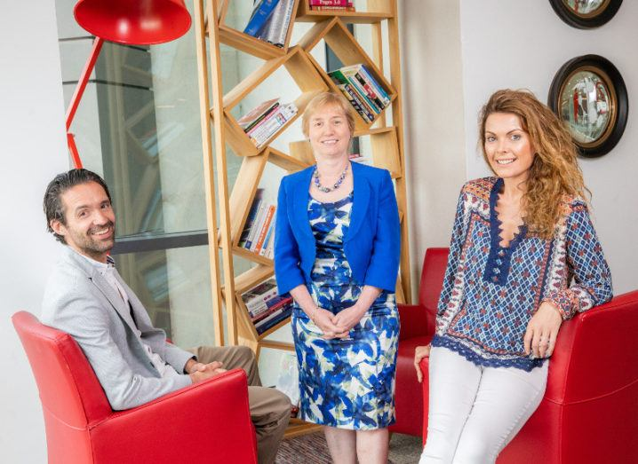 From left: Ben Wainright, co-founder, Abodoo; Regina Moran, director of Enterprise, Vodafone Ireland; and Vanessa Tierney, co-founder Abodoo. Image: Vodafone