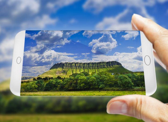 Ben Bulben mountain on a smartphone