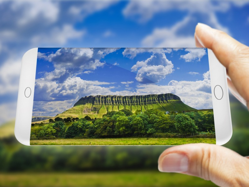 Ben Bulben mountain on a smartphone