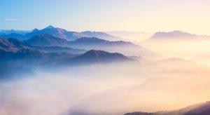 Misty mountain scene representing brain fog