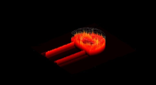 A computerised image showing a red, D-shaped cavity which creates quantum chaos.