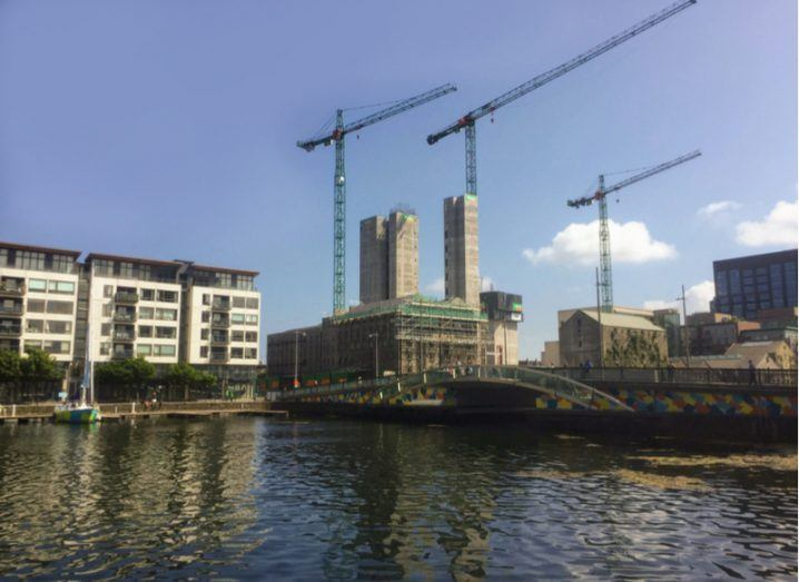 Google's new development under construction at the old Boland's Mill Site fronting onto Grand Canal Dock. Image: Noel Bennett/Shutterstock