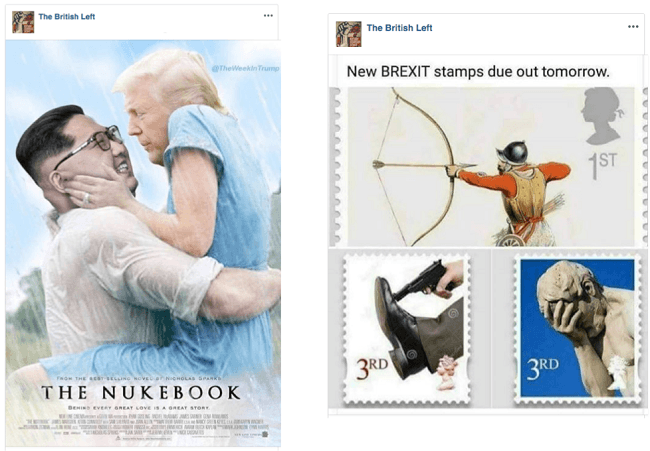A screenshot of two memes. One showing Kim Jong-un and Donald Trump embracing, the other showing fake Brexit postal stamps.
