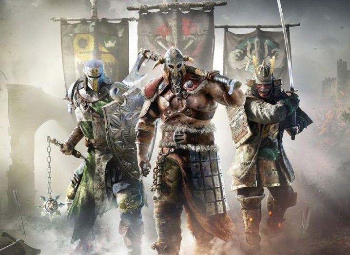 Three medieval warriors in a still from the Ubisoft game For Honor.