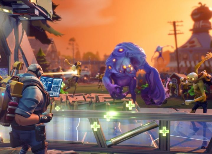 A still from the video game Fortnite. Two characters battling it out.