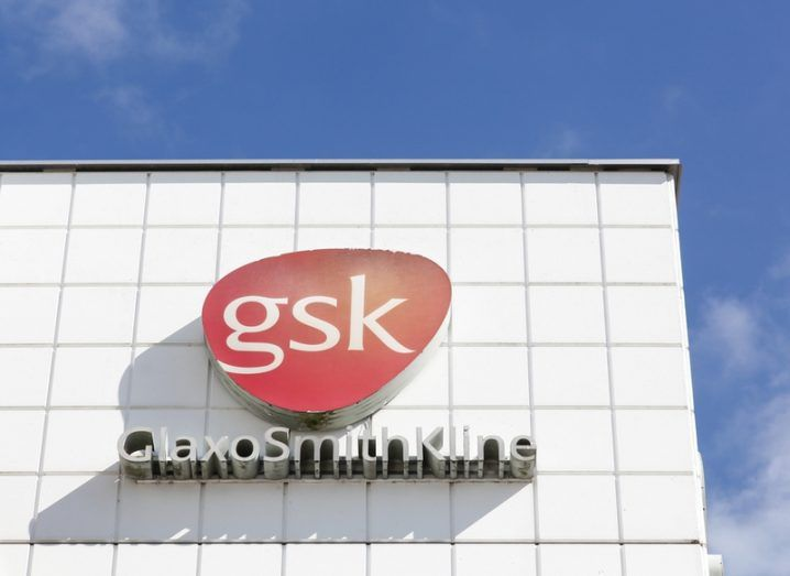 Building with GSK logo with blue sky background.