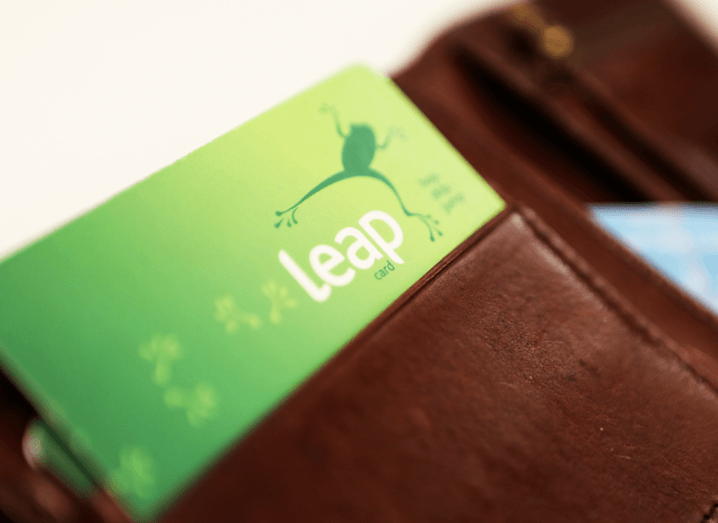Close-up shot of a Leap Card in a brown leather wallet.