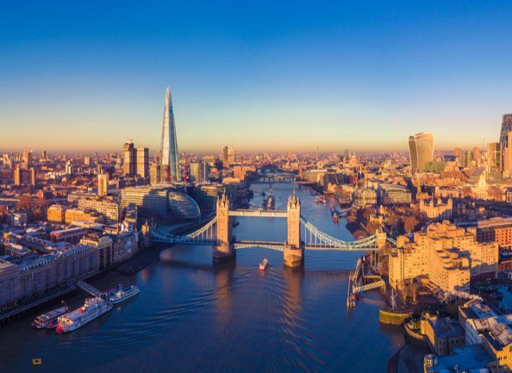 Panoramic view of London and the Thames.