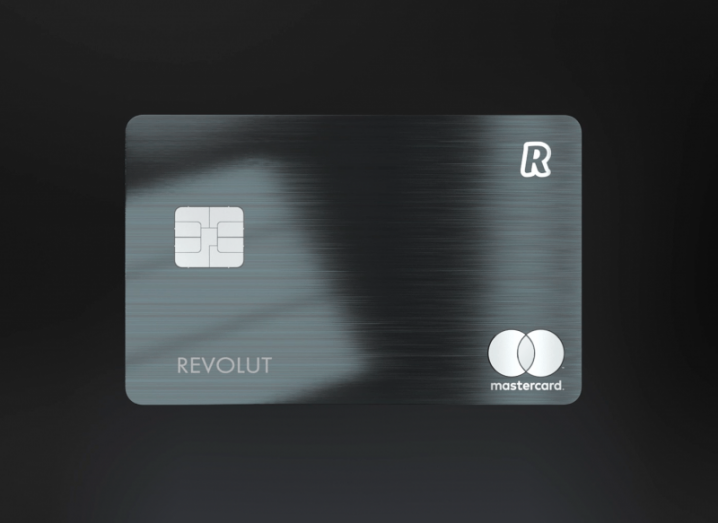 The new black Revolut Metal card on a black background.