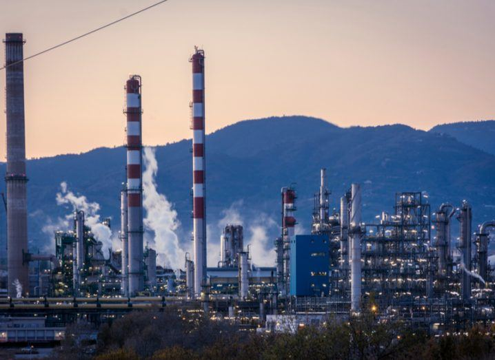 A petrochemical plant emitting pollution