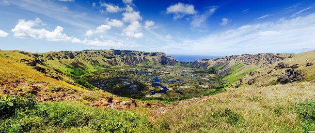 Volcanic crater on Easter Island