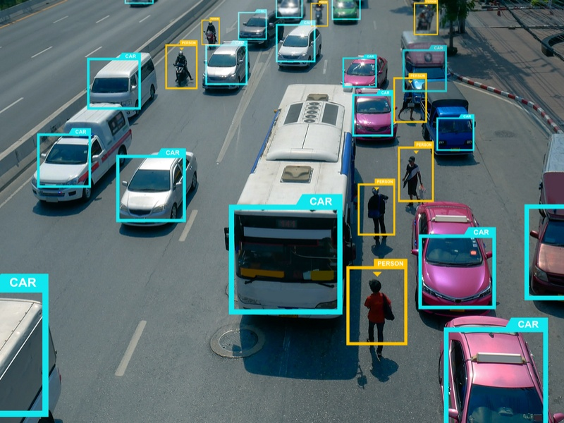 object recognition of vehicles and people using deep learning.
