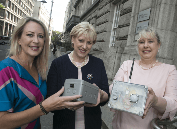 From left: Sarita Johnston, HPSU Start manager, Enterprise Ireland; Minister for Business, Enterprise and Innovation Heather Humphreys, TD; and former CSF recipient Anne Lawlor, CEO and founder, Journey Protector.