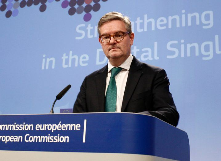 EU Commissioner for Security, Julian King, at a press conference in Europe.