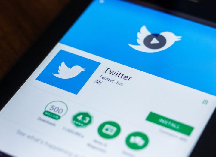 Twitter app Google Play screen on phone.Twitter botnets