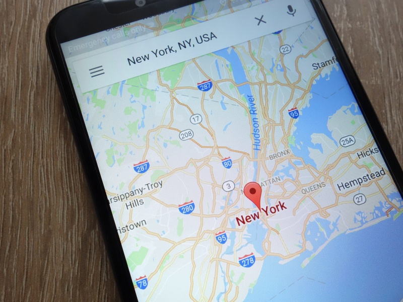 Google Maps open on a mobile device, displaying a map of New York City.