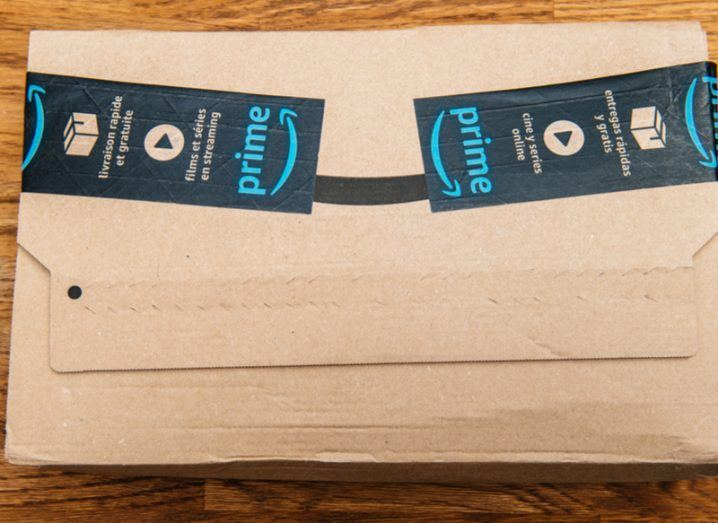 Amazon Prime package on wooden table.