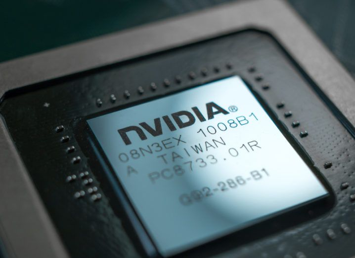 Close-up of a Nvidia Geforce graphic chip, which are used to mine cryptocurrency.