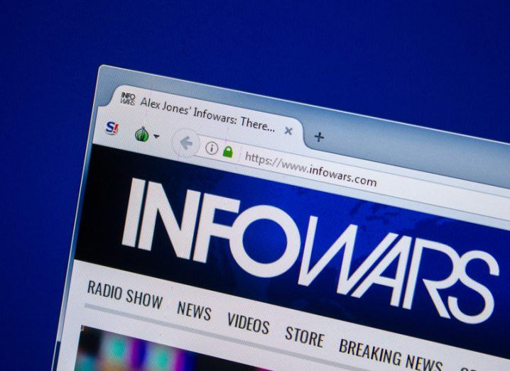 InfoWars website open in an internet browser window.