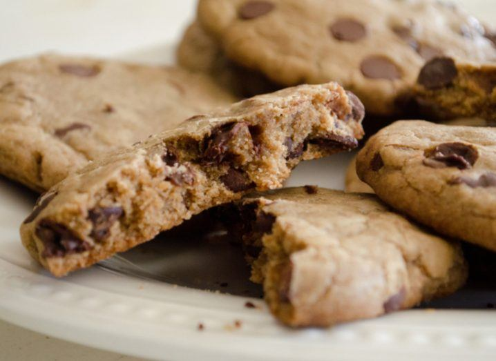Delicious chocolate chip cookies. Tracking cookie concept.