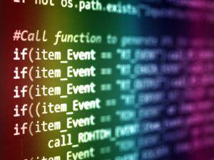 computer script on a screen. AI hype concept