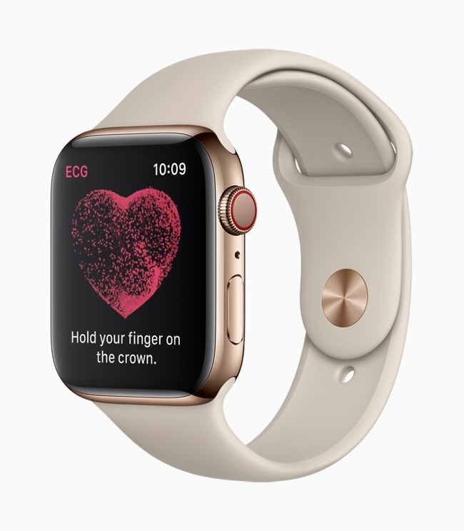 Picture of new ECG sensor on Apple Watch Series 4 smart watch.