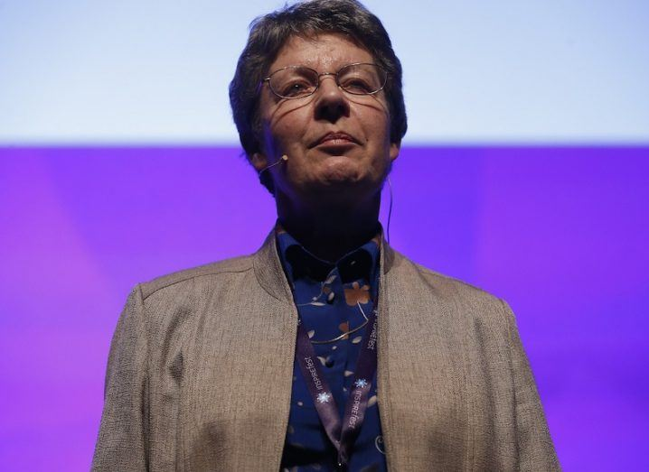 Jocelyn Bell Burnell standing confidently on stage at Inspirefest 2015.