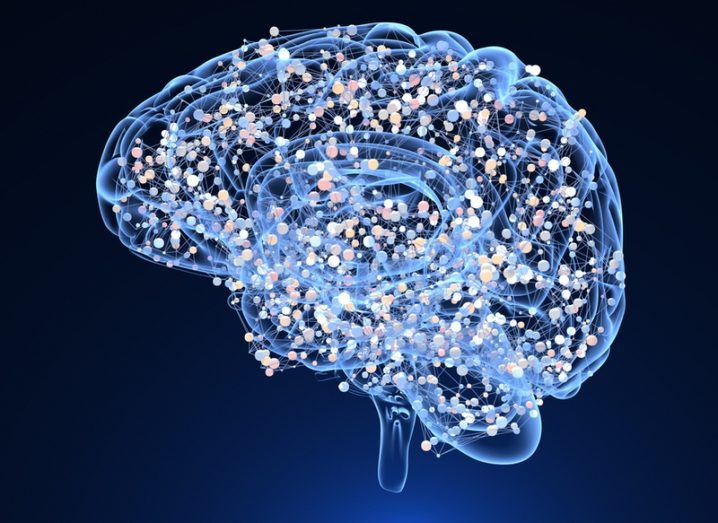 A see-through brain showing brain cells lit up and talking with one another.