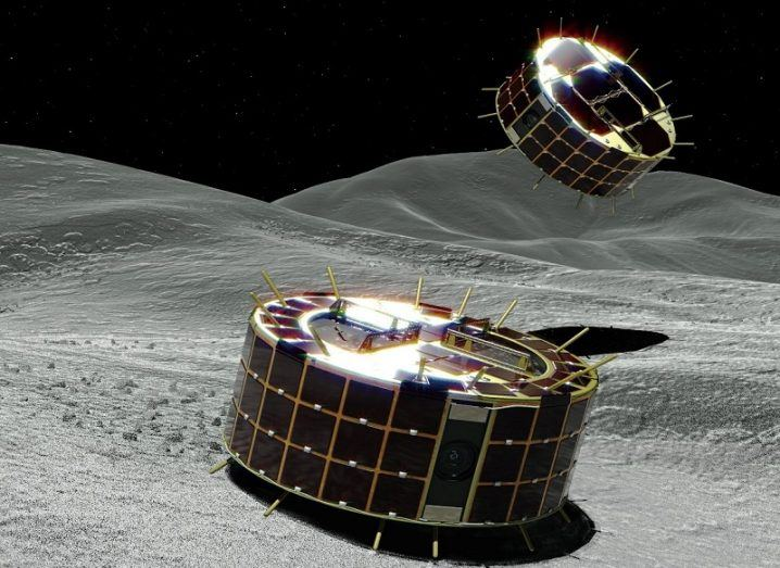 Illustration of the Japanese space agency rovers landing on the surface of the asteroid, Ryugu.