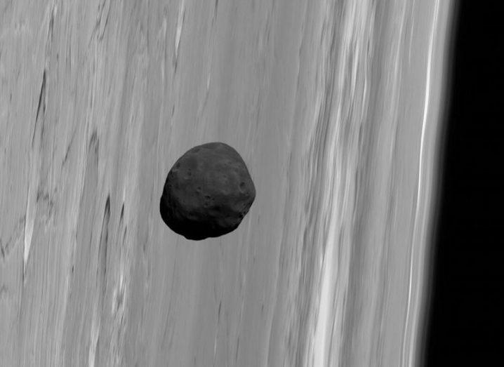 Phobos in Mars orbit taken by the Mars Express spacecraft.