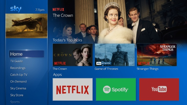 Image of Sky electronic programme guide with apps including Netflix Spotify and YouTube