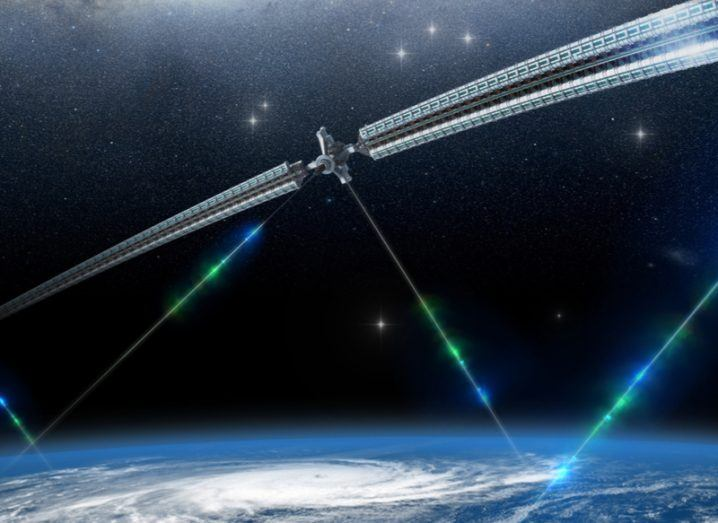 Concept of a space elevator network in orbit with different entry points.