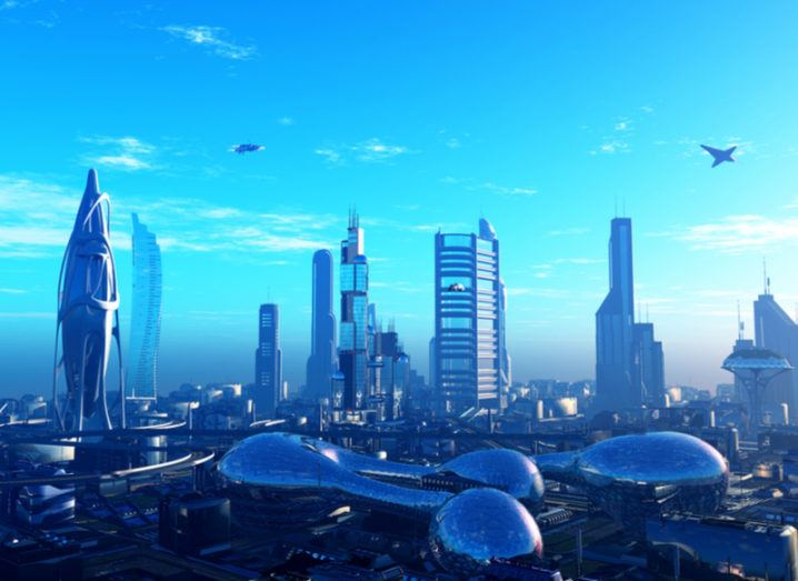 A futuristic cityscape scene filled with skyscrapers, similar to Wakanda.
