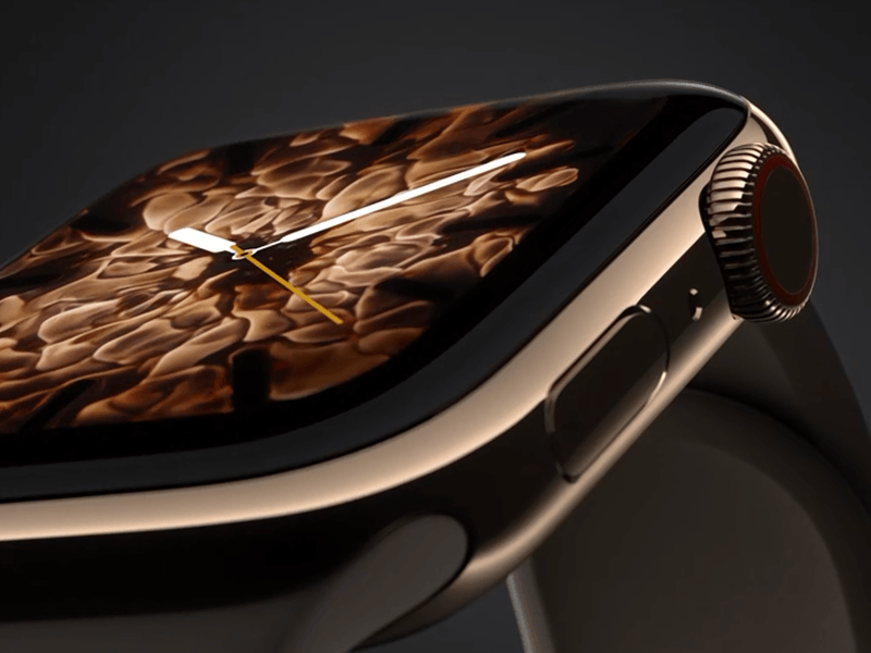 Close up of new golden Apple Watch Series 4.