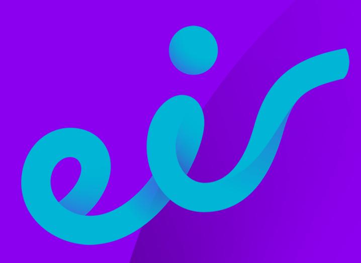 Eir logo. Blue writing on a purple background.