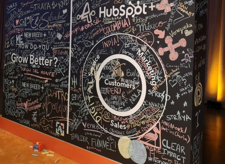 A wall covered in chalk signatures at HubSpot Inbound event in Boston.