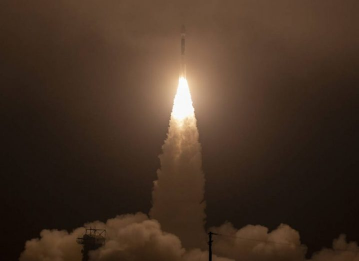 Delta II rocket launching into space with ICESat-2 on board