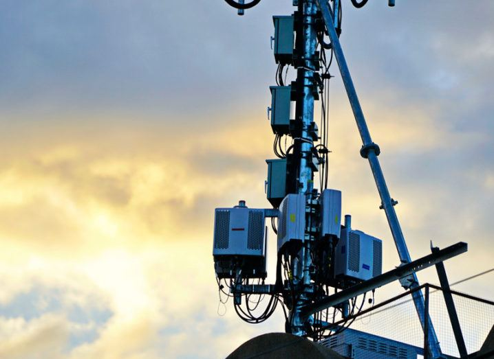 Mobile base station tower at sunset.