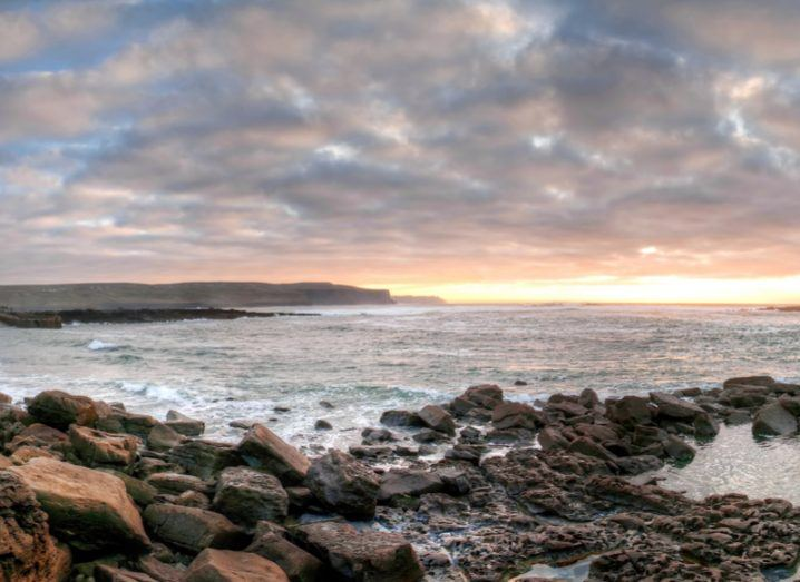 The Atlantic Ocean off the coast of Doolin at sunset.