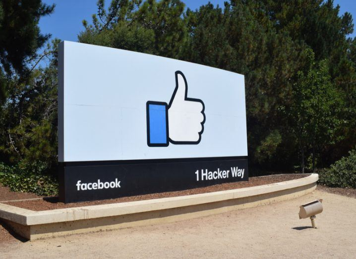 A sign with the Facebook Like symbol at its California offices.