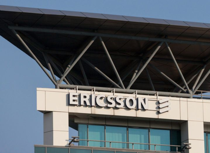 Ericsson logo on its Serbian offices with a blue sky in the background