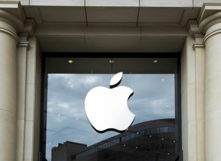 The Apple logo on a window of an Apple Store in Barcelona.