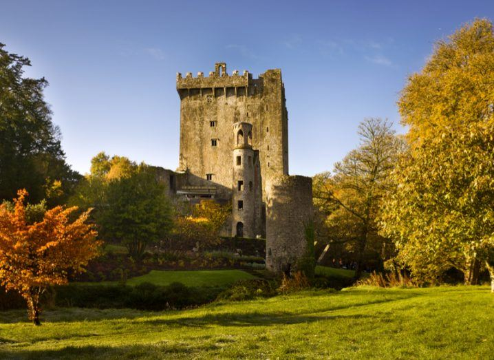 Blarney Castle in the sunshine, surrounded by trees.