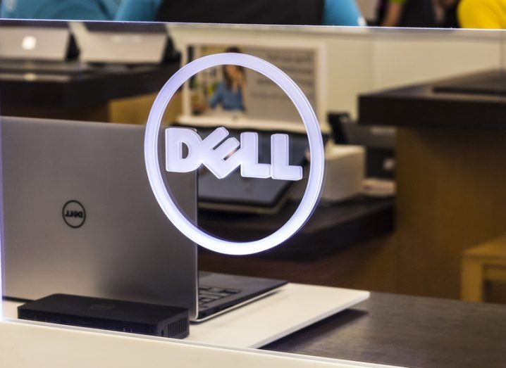 Dell logo on a glass panel.