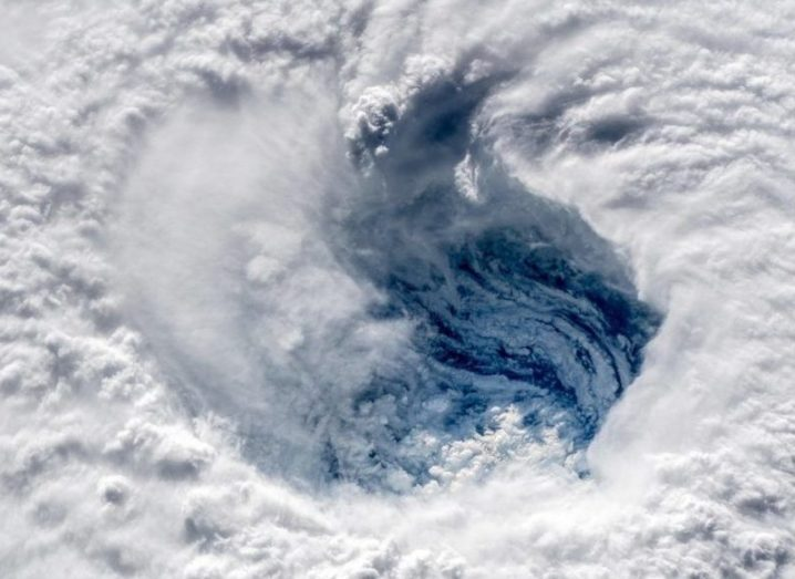 close-up of the eye of Hurricane Florence, taken from space.