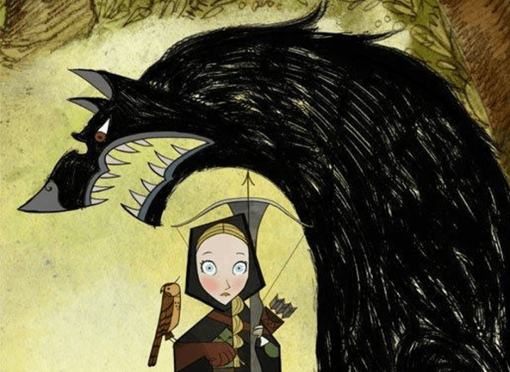 Illustration from Wolfwalker movie that shows wolf towering over young girl.