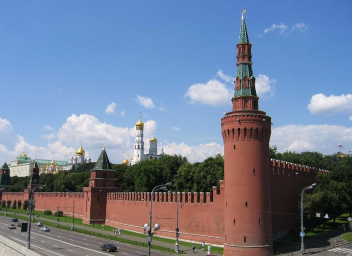 The Kremlin in Moscow on a sunny day.