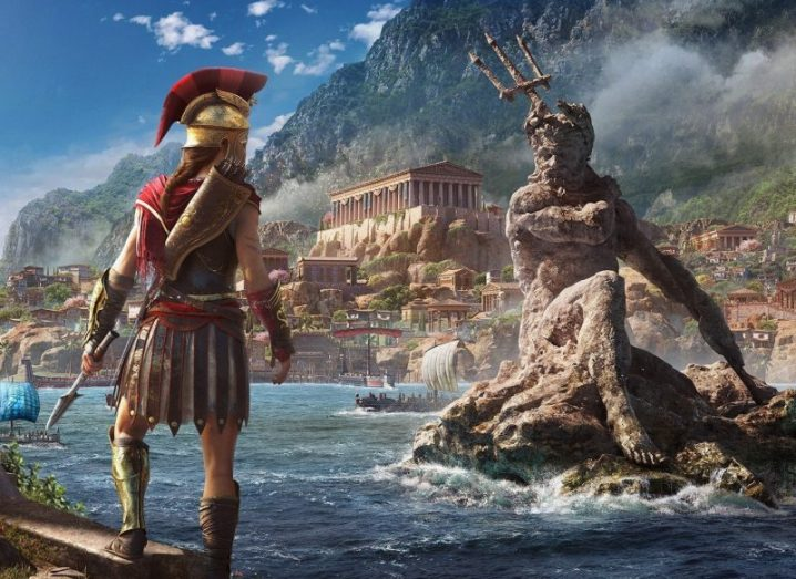 A gladiator character from the game 'Assassin's Creed Odyssey'.