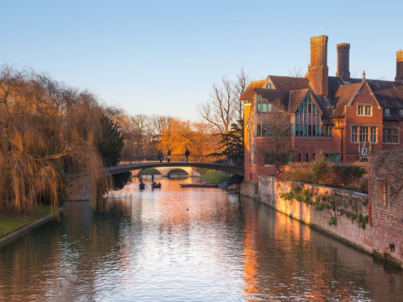 A view of Cambridge from the river on an autumnal evening.